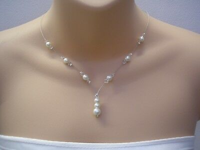 11c Dainty Pearl Crystal Drop Necklace Bridal Bridesmaid Wedding Silver Gold