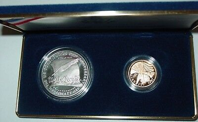 Constitution Proof 1987 $5 Gold & $1 Silver 2 Coin Set Plus Box with COA