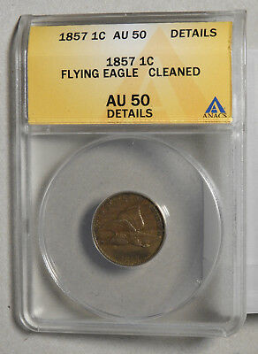 1857 Flying Eagle Cent ANACS Certified AU50 Details
