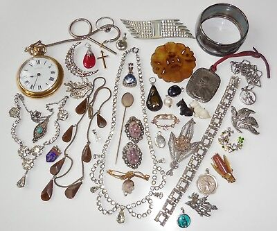 LOT Of ANTIQUE And VINTAGE JEWELLERY Inc Pocket Watch, SILVER, Gemstones etc