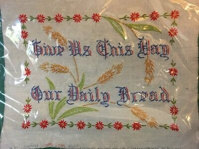 "Ant EMBROIDERED LINEN SAMPLER~Off White Background~""Give Us This Day..."" 10""x13"""