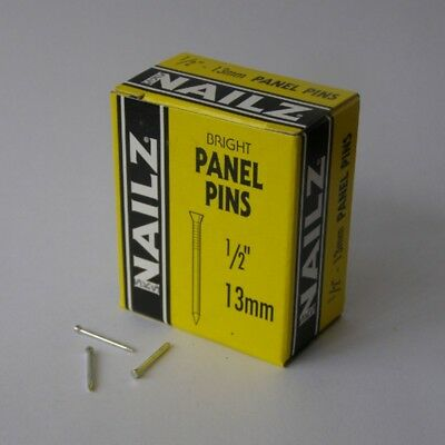 Vintage Nailz Bright Panel Pins 13mm 1/2inch 30g Box Made In England