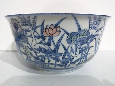 Collectible Chinese Large Porcelain Bowl Crane Lotus Blue White Handpainted