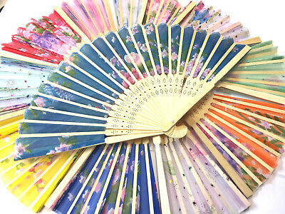 Chinese Folding Bamboo Original Hand Fan fit Wedding Party Summer WOODEN PRINTED