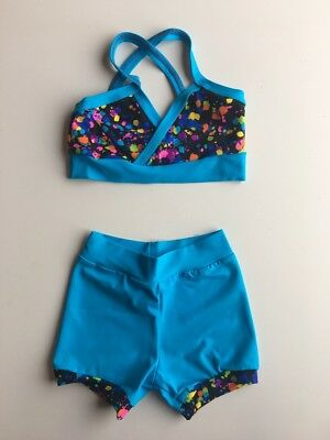 Lexi Luu Girl's S/ Black And Turquoise Crop Top Multi Color Paint Print Set
