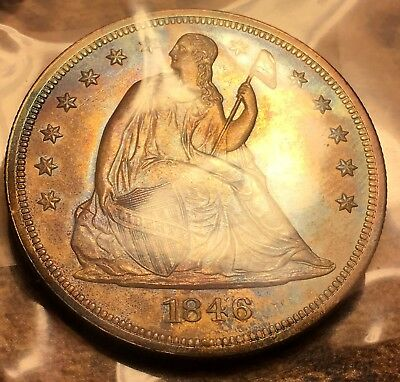 1846 Seated Liberty Dollar Marked as GEM PROOF, really colorful coin! WOW