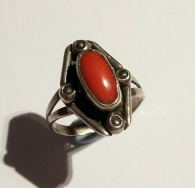 Vintage Artisan Solid Silver Ring With Genuine Coral Old Handcrafted