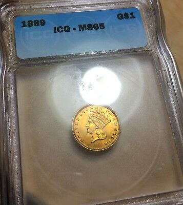 1889 Gold Dollar $1 Ebay approved grader. ICG MS65. That is very good grade.