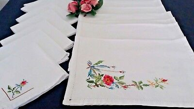 7 Beautiful Vintage Cross Stitch Place Mats And 7 Matching Napkins.floral.
