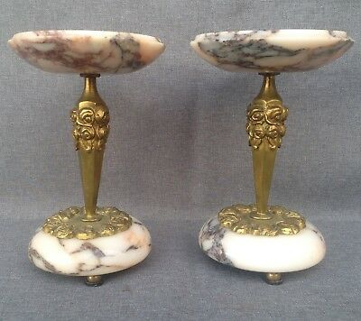 Antique pair of Art-Deco vases ring stands France 1930's marble and bronze