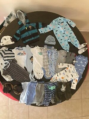 Newborn Boy 23 Pieces Excellent Condition! clothing Lot Pants Sleeper