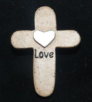 "Pocket Stone Cross Love Silver Heart Crucifix Black Velvet Pouch 1.5"" Tall"