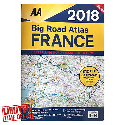 AA Big Road Atlas France 2018 Road Map A3 Fully Revised Updated Easy To Read NEW