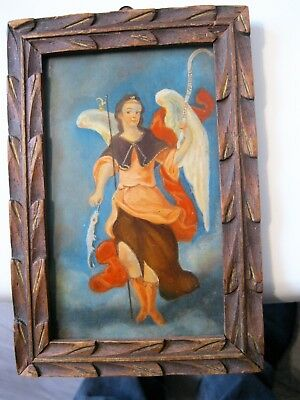 Vintage Retablo On Tin With Image Of Archangel Raphael Framed Great Condition