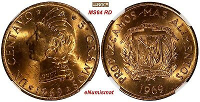 Dominican Republic Bronze 1969 1 Centavo NGC MS64 RD F.A.O FULL RED TONED KM# 32