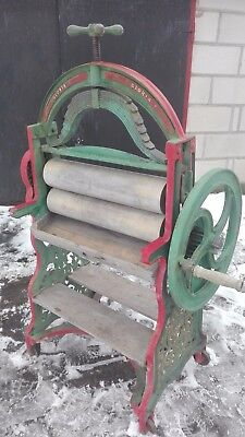 Antique XIX c. Original Cast Iron Ornamental Mangle. Clothes wringer England 60""
