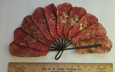 Rare Early Fine Brise Antique Chinese Taiwan Hand Painted Fan Gold Leaf Figure