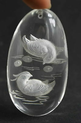 Collectible Handwork crystal Carve Lovely Mandarin duck Bring Happiness Pendant