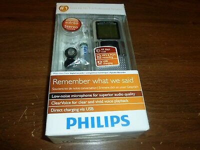New Philips LFH0655 4GB Voice Tracer Digital Recorder with Clear Voice
