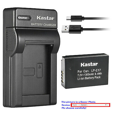 Kastar Battery Slim USB Charger for Canon LP-E17 LC-E17 & Canon Rebel T6i Camera
