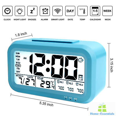 Digital Alarm Clock With USB Charger Port Temperature Large Display Time Light
