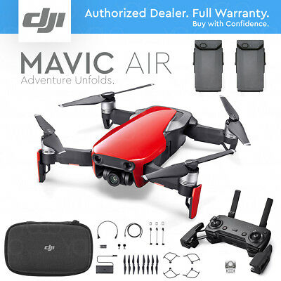 DJI MAVIC AIR Foldable & Portable Drone Camera - FLAME RED - EXTRA BATTERY