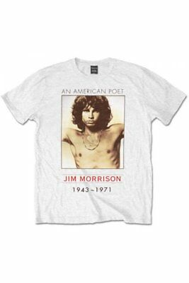 Official THE DOORS American Poet T Shirt White Band Tee Jim Morrison Fashion
