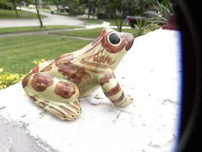 "Vintage Ceramic Brown And Green Frog Figurine 4.5"" X 4.5"""