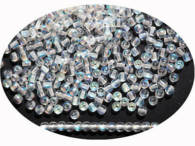 Czech Round Smooth Pressed Glass Beads in Crystal AB ctd, 2mm to 8mm, Druk Bead
