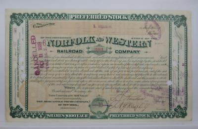 Antique 1888 Norfolk and Western Railroad Company Stock Certificate BG162