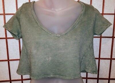 5ef6403c76697 New Small Ribbed Fashion Nova Short Sleeved Crop Top Loose Fit Olive Army  Green
