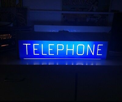 "VINTAGE 1960's TELEPHONE LIGHTED DOUBLESIDED METAL 19"" NEON *UNUSUAL* RARE SIGN"