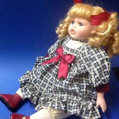 Porcelain Toddler Doll - Trixie - Blonde Ringlets, 36cm Tall - By Homeart