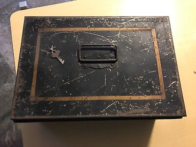 Antique Toleware Painted Fires Tin Metal Storage Document Cash Lock Box Old Key