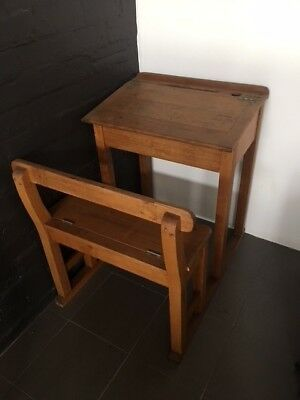vintage antique timber school desk with folding seat