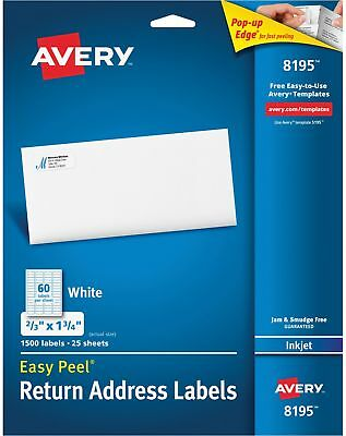 avery easy peel return address labels inkjet 2 3 x 1 3 4 white