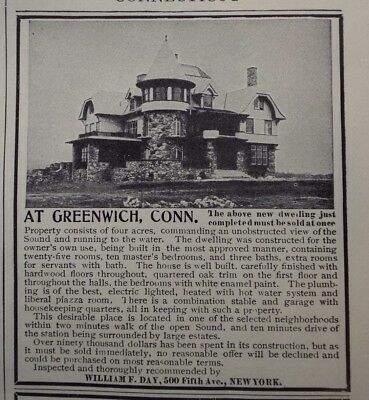 1908 GREENWICH CT Real Estate ad  Williasm F. Day with VIEW of the SOUND