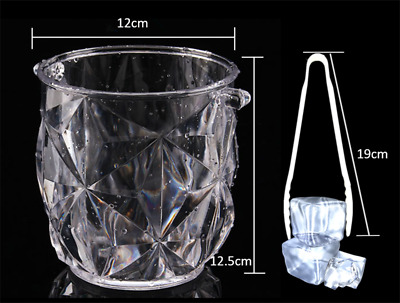 2 Acrylic Plastic Wine Ice Bucket Beer Champagne Beverage Cooler With Ice Tongs