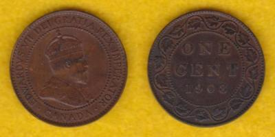 Canada Large Cent 1908  ---  Qlde