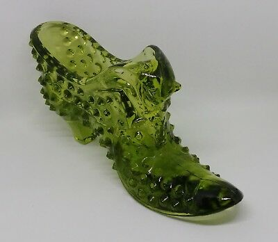 Collectable Fenton Olive Green Glass Slipper Shoe Hobnail Pattern