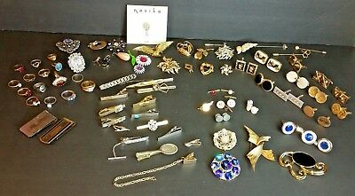 Large Lot Of Vintage Pins, Rings, Tie Tacks, Cuff links, Brooches, More! 74 Pcs.