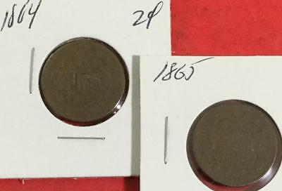 1864 & 1865 US Two Cent Pieces SEt of 2 Carded Coins!