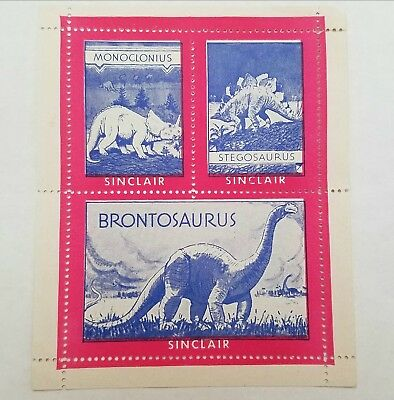 RARE Unused 1935 SINCLAIR DINOSAUR STAMPS STILL IN SHEETS Jurassic Park World