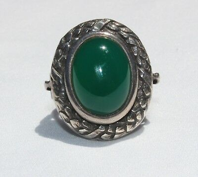 ART DECO Chrysoprase Sterling Silver Ring star mark made in Spain