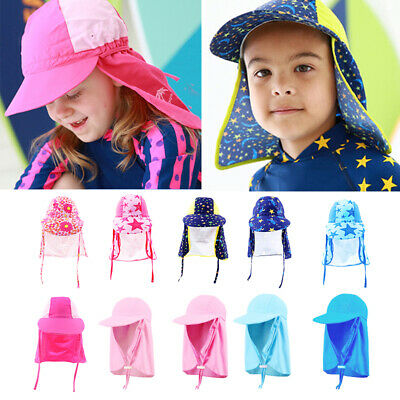 Childrens Sun Legionnaire Hat Cap Kids Baby UPF 50+ Neck Flap Protection