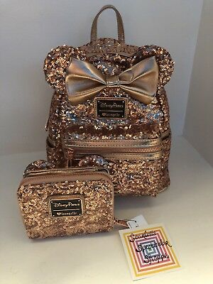 SOLD OUT Disney Parks Minnie Mouse Rose Gold Loungefly Backpack AND Wallet  Ears 90ebc241a5