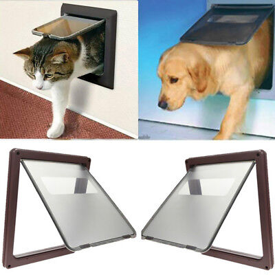 Go In and Out 4 Way Locking Safe Flap Door Entrance Gate for Pets Cat Puppy Dog