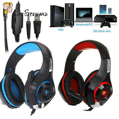 Gaming Headset für PS4 PC Xbox One LED Light Gaming Kopfhörer mit Mikrofon Bass