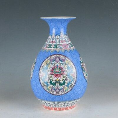 China Porcelain Hand-Painted Flowers Vase Made During The Daqing Qianlong