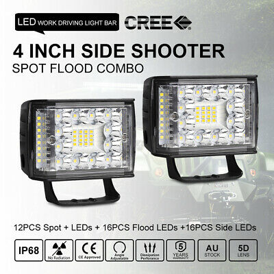 4inch Side Shooter LED Work Light Bar Quad Row Spot Flood Combo Offroad UTE SUV